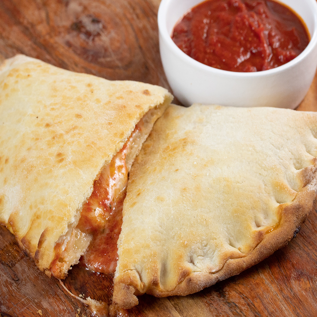calzone cut in half